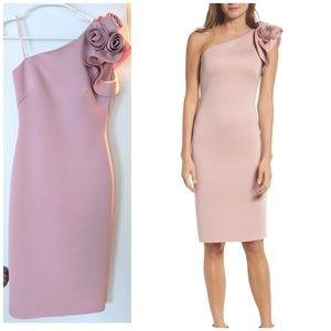 Eliza J Blush one shoulder dress